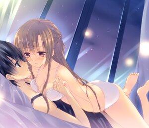 Rating: Questionable Score: 94 Tags: asuna_(sword_art_online) bra cleavage kirito mitsu_king pantsu sword_art_online User: blooregardo