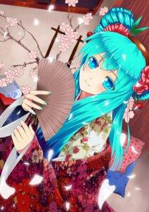 Rating: Safe Score: 29 Tags: hatsune_miku kimono ling_zero vocaloid User: charunetra