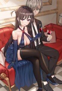 Rating: Questionable Score: 35 Tags: business_suit cleavage dress heels kanojo_okarishimasu mizuhara_chizuru no_bra piyo_(pixiv_2308057) skirt_lift stockings thighhighs User: Dreista