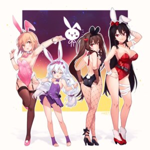 Rating: Questionable Score: 51 Tags: animal_ears ass bandages bunny_ears bunny_girl fishnets heels loli no_bra pantyhose skirt_lift soul_worker stockings tail takotsu thighhighs User: Mr_GT
