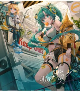 Rating: Safe Score: 27 Tags: hatsune_miku headphones kagamine_rin lujang_(fudge) stockings tattoo thighhighs vocaloid User: Mr_GT