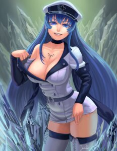 Rating: Safe Score: 56 Tags: akame_ga_kill! cleavage esdeath lasterk no_bra tattoo thighhighs undressing User: Mr_GT