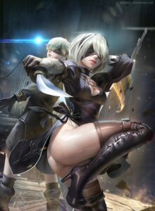 Rating: Safe Score: 58 Tags: ass cleavage dress heels nier_automata sangrde sword thighhighs watermark yorha_no.2_type_b yorha_no._9_type_s User: Mr_GT
