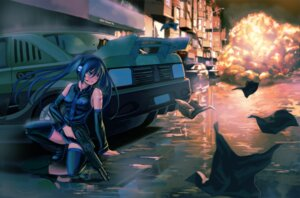 Rating: Safe Score: 34 Tags: gun hatsune_miku headphones lasterk pantsu shimapan thighhighs vocaloid User: dyj