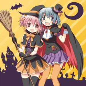 Rating: Safe Score: 16 Tags: gonzaburou halloween kaname_madoka miki_sayaka puella_magi_madoka_magica thighhighs witch User: Radioactive