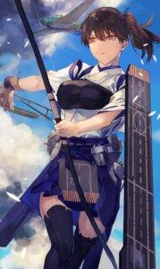 Rating: Safe Score: 25 Tags: fukazaki japanese_clothes kaga_(kancolle) kantai_collection thighhighs weapon User: Genex