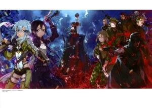 Rating: Safe Score: 35 Tags: abec armor blood death_gun gun gun_gale_online kirito sinon sword sword_art_online User: drop
