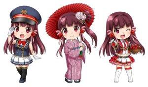 Rating: Safe Score: 9 Tags: chibi haruzaki_nonoka itsuki_sayaka kimono marronni_yell thighhighs umbrella uniform User: saemonnokami