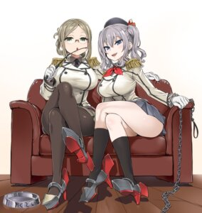 Rating: Safe Score: 77 Tags: asanagi heels kantai_collection kashima_(kancolle) katori_(kancolle) megane pantyhose uniform weapon User: Urameshiya