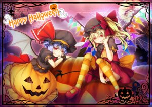 Rating: Safe Score: 9 Tags: chima_q flandre_scarlet halloween heels pantsu remilia_scarlet skirt_lift tail thighhighs touhou wings User: Mr_GT