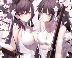 Rating: Safe Score: 127 Tags: animal_ears atago_(azur_lane) azur_lane breast_hold cleavage dress shinooji sword takao_(azur_lane) thighhighs User: BattlequeenYume