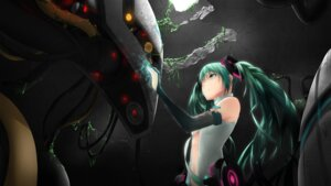 Rating: Questionable Score: 25 Tags: hatsune_miku mecha miku_append open_shirt tattoo vocaloid wallpaper User: Humanpinka