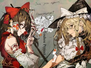 Rating: Questionable Score: 14 Tags: hakurei_reimu hiranko kirisame_marisa touhou witch User: Dreista