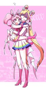 Rating: Safe Score: 9 Tags: chibiusa heels sailor_moon seifuku skirt_lift takatsuki_nato tsukino_usagi weapon User: Mr_GT