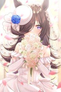 Rating: Safe Score: 22 Tags: animal_ears dress haruki_(colorful_macaron) rice_shower_(umamusume) uma_musume_pretty_derby wedding_dress User: BattlequeenYume