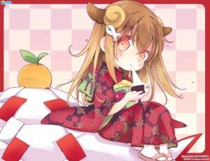 Rating: Safe Score: 30 Tags: animal_ears chibi cube horns kimono koi_suru_kanojo_no_bukiyou_na_butai mitaonsya togawa_mayuu User: moonian