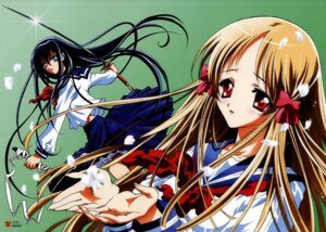 Rating: Safe Score: 6 Tags: azuma_hatsumi azuma_hazuki seifuku sword yami_to_boushi_to_hon_no_tabibito User: jxh2154