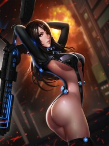 Rating: Questionable Score: 81 Tags: ass bodysuit gantz liang_xing no_bra nopan shimohira_reika thighhighs thong underboob weapon User: mash