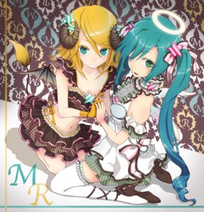 Rating: Safe Score: 32 Tags: angel cleavage devil garter hatsune_miku heels horns kagamine_rin lolita_fashion macco tail thighhighs vocaloid wings User: fireattack
