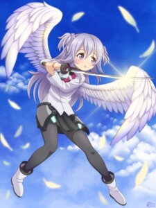 Rating: Safe Score: 36 Tags: baruubaado90 gakusentoshi_asterisk pantyhose seifuku sword toudou_kirin wings User: memes