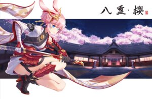 Rating: Questionable Score: 33 Tags: animal_ears armor bandages benghuai_xueyuan bunny_ears heels honkai_impact japanese_clothes rla058058 skirt_lift sword yae_sakura_(benghuai_xueyuan) User: Dreista