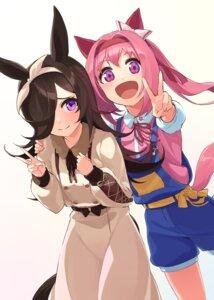 Rating: Questionable Score: 15 Tags: animal_ears dress haru_urara_(umamusume) inuyabu_cc overalls rice_shower_(umamusume) tail uma_musume_pretty_derby User: Dreista