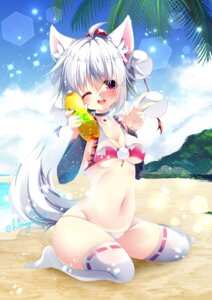 Rating: Safe Score: 36 Tags: animal_ears bikini cleavage inubashiri_momiji swimsuits tagme tail thighhighs touhou underboob User: BattlequeenYume