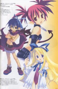 Rating: Safe Score: 8 Tags: disgaea etna flonne laharl leotard mitsumi_misato open_shirt pointy_ears tail wings User: aoie_emesai