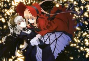 Rating: Safe Score: 37 Tags: dress gothic_lolita lolita_fashion rozen_maiden sakai_kyuuta shinku suigintou wings yuri User: drop