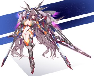 Rating: Safe Score: 39 Tags: cleavage jpeg_artifacts mecha_musume minamon no_bra sword thighhighs User: Zenex