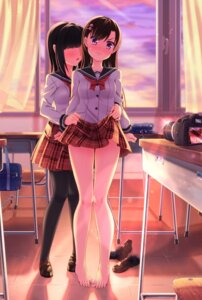 Rating: Questionable Score: 101 Tags: feet nukoko_(akumagansyakudairi) pantyhose seifuku skirt_lift yuri User: Mr_GT