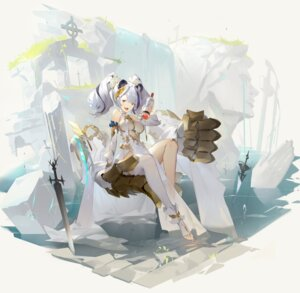 Rating: Safe Score: 33 Tags: animal_ears arknights dress feater_(arknights) helic_(7317helic) sword thighhighs User: Mr_GT