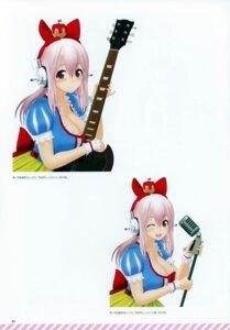 Rating: Safe Score: 4 Tags: bleed_through cleavage guitar headphones scanning_dust sonico super_sonico tsuji_santa User: kiyoe