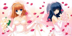 Rating: Safe Score: 39 Tags: cleavage dress fuyou_kaede navel nishimata_aoi shuffle skirt_lift wedding_dress yae_sakura User: Mr_GT