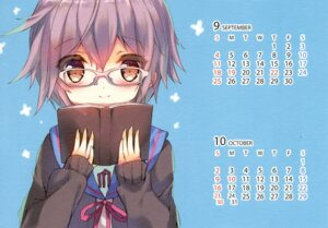 Rating: Safe Score: 10 Tags: calendar megane nagato_yuki p19 paper_texture seifuku suzumiya_haruhi_no_yuuutsu sweater User: Radioactive
