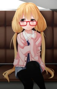 Rating: Safe Score: 41 Tags: cosplay futaba_anzu kyoukai_no_kanata megane pantyhose ratsuku_kinoko seifuku sweater the_idolm@ster the_idolm@ster_cinderella_girls User: KazukiNanako