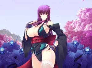 Rating: Questionable Score: 53 Tags: cleavage haganef japanese_clothes kouzuki_yuuko mecha muvluv no_bra nopan open_shirt tagme thighhighs User: Mr_GT