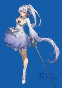 Rating: Questionable Score: 16 Tags: cleavage cro_(artist) dress heels rwby skirt_lift sword weiss_schnee User: Dreista