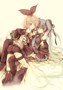 Rating: Safe Score: 15 Tags: garter hatsune_miku kagamine_rin ooki_bonta thighhighs vocaloid User: charunetra