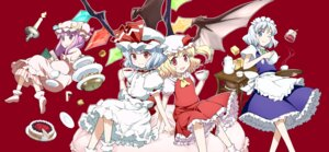 Rating: Safe Score: 10 Tags: flandre_scarlet izayoi_sakuya patchouli_knowledge remilia_scarlet takahata_yuki touhou wings User: Mr_GT