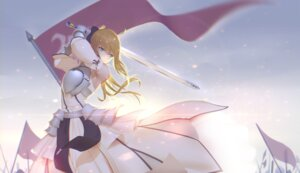 Rating: Safe Score: 56 Tags: armor dress fate/stay_night fate/unlimited_codes maredoro saber saber_lily sword User: Mr_GT