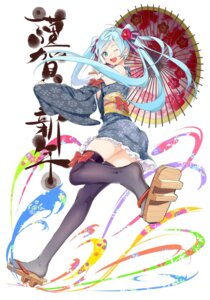 Rating: Safe Score: 34 Tags: hatsune_miku japanese_clothes kimono thighhighs tsukota vocaloid User: mahoru