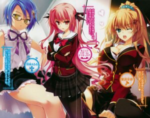 Rating: Safe Score: 23 Tags: bra breast_hold cleavage crease fixme gin_no_cross_to_draculea kariya_eruru megane pantyhose rushella_dahm_draculea screening seifuku sudou_mei thighhighs yasaka_minato User: mash