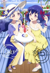 Rating: Safe Score: 23 Tags: aikatsu_friends! autographed dress heels miyadani_risa shirayuri_kaguya shirayuri_sakuya summer_dress tagme User: drop