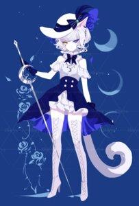 Rating: Questionable Score: 10 Tags: animal_ears dress heels heterochromia nekomimi sheya sword tail thighhighs watermark User: Dreista