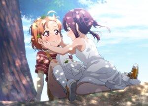 Rating: Safe Score: 19 Tags: dress kougi_hiroshi love_live!_sunshine!! sakurauchi_riko skirt_lift summer_dress takami_chika yuri User: saemonnokami