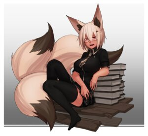 Rating: Safe Score: 20 Tags: animal_ears feet less megane tail thighhighs User: Mr_GT