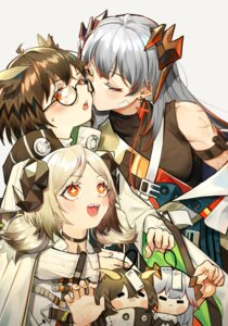 Rating: Safe Score: 18 Tags: arknights chibi dpea9 horns ifrit_(arknights) megane saria_(arknights) silent_(arknights) yuri User: Mr_GT