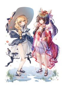 Rating: Questionable Score: 21 Tags: dress hajin hakurei_reimu kirisame_marisa pantsu see_through summer_dress touhou User: Dreista
