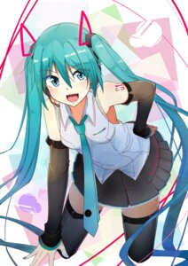 Rating: Safe Score: 43 Tags: hatsune_miku headphones kazenoko tattoo thighhighs vocaloid User: mattiasc02